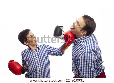 father and son boxing - stock photo