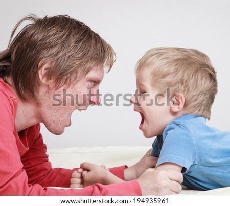 father and son conflict, problems in family - stock photo