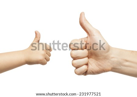 father and son hands giving like on white background - stock photo