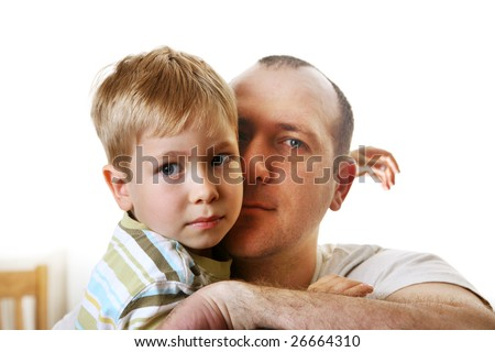 Father and son having a quiet moment together. - stock photo