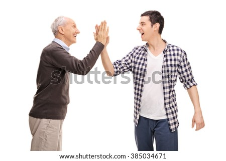 Father and son high-five each other isolated on white background