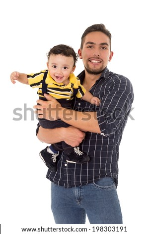 father and son hispanic on a white background - stock photo