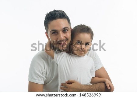 Father and son hugging each other white background isolated