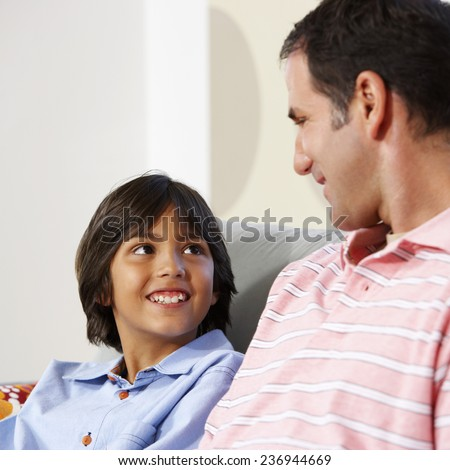 Father and Son in Living Room