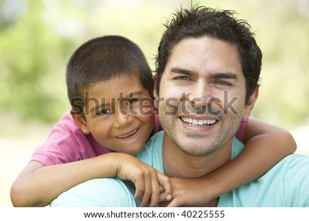 Father And Son In Park - stock photo