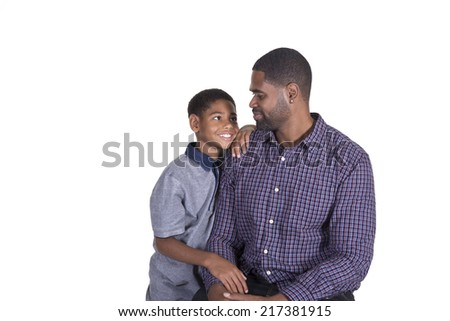 Father and son isolated - stock photo