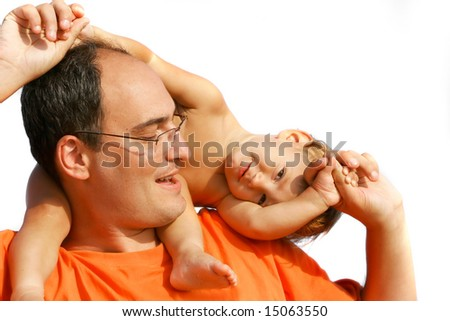 father and son isolated over white - stock photo