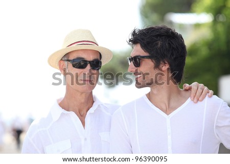 Father and son on a holiday trip. - stock photo