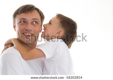 father and son on a white background - stock photo