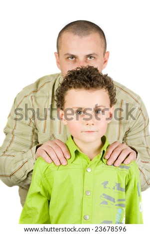 Father and son playing, isolated on white - stock photo