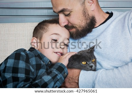Father and son portrait, fathers day concept, real family - stock photo
