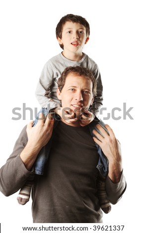 father and son portraits isolated on white background - stock photo