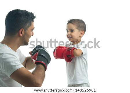Father and son ready for boxing challenge - stock photo