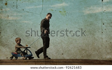 Father and son spend free time together. Photo in old color image style. - stock photo