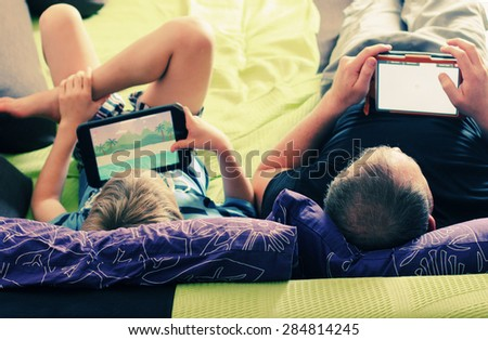 father and son spending time together - stock photo
