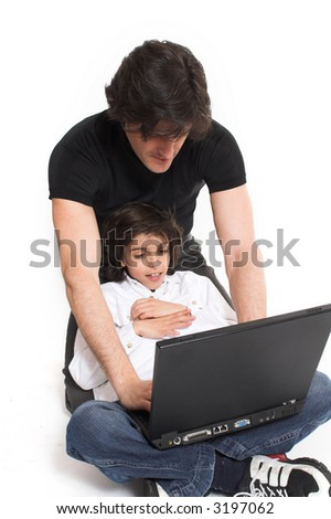 father and son together over white background
