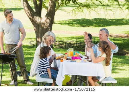 Father at barbecue grill with extended family having lunch in the park - stock photo
