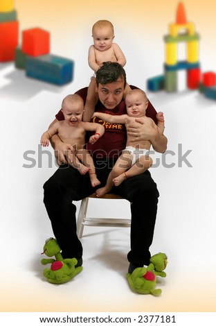 Father babysiter - stock photo