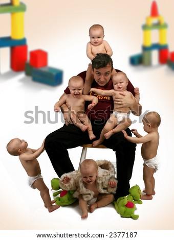 father babysitter - stock photo