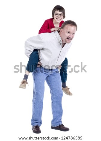 Father carrying his son on his back over a white background