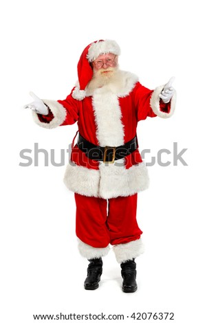 father christmas gesturing full length portrait on plain on white background - stock photo