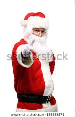 father Christmas or Santa Claus giving thumb up, isolated on white background - stock photo
