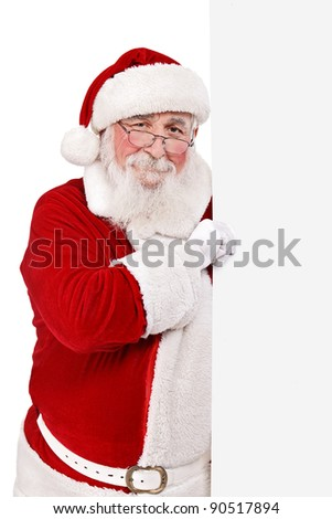father Christmas or Santa Claus  holding blank sing,  isolated on white background - stock photo