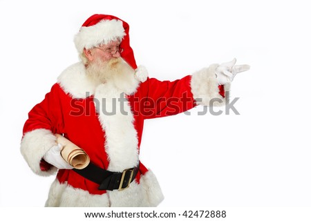 father Christmas pointing  ideal copy space for text studio isolated shot on white - stock photo