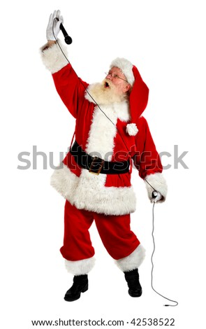 father christmas  singing and looking happy studio shot on white - stock photo