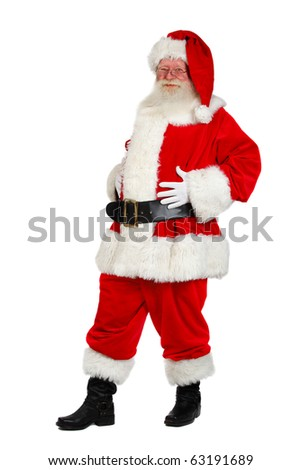 father christmas studio shot on white - stock photo