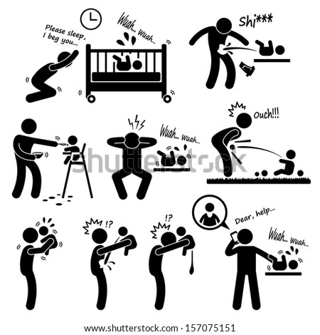 Father Daddy Husband Parenting Baby Stick Figure Pictogram Icon - stock photo