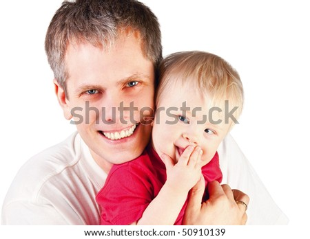 Father embrace his little son - stock photo