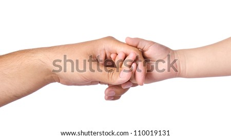 Father giving hand to a child isolated