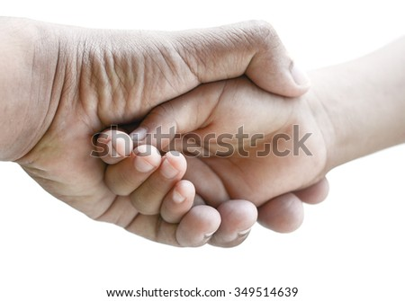 father hand holding babies hand. Isolated on white background. - stock photo
