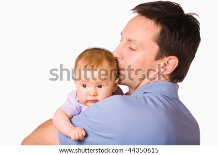 Father hold baby isolated on white - stock photo
