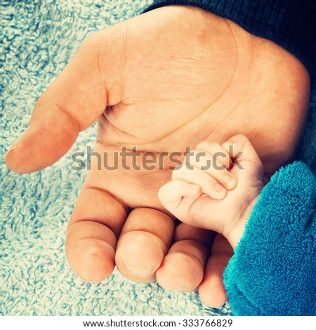 Father holding baby hand in his palm, close up - stock photo