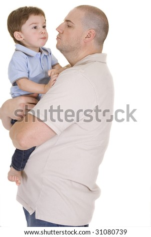 Father holding son on a white background
