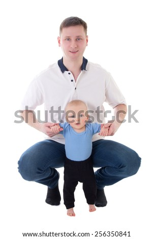 father playing with his little son isolated on white background - stock photo