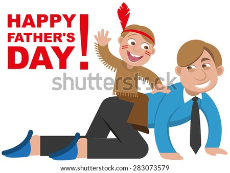 Father playing with his son in the Indians. Isolated illustration - stock photo