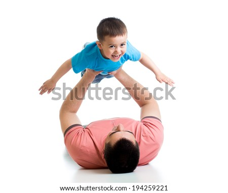 father playing with kid isolated on white - stock photo