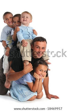 Father plays with four children