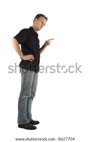 Father pointing his finger down. He's angry at... use the copy space for that. - stock photo