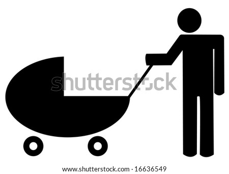 father pushing baby buggy or stroller - illustration - stock photo