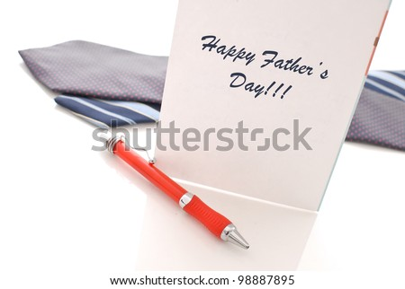 Father's Day Card with Pen and Neck Ties - stock photo