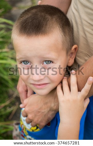 father's hand lead his child son in summer forest nature outdoor, trust family concept - stock photo
