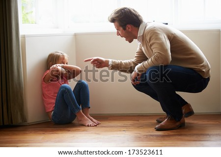 Father Shouting At Young Daughter - stock photo