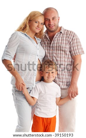 Father, son and pregnant mother. Isolated on white - stock photo