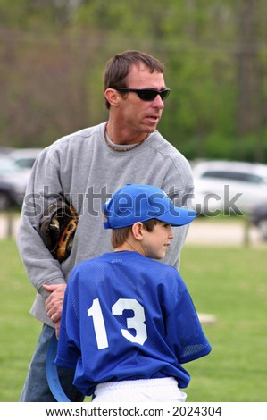 Father & Son at Baseball Opening Day - stock photo