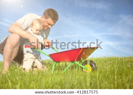 Father Son Playing Concept - stock photo