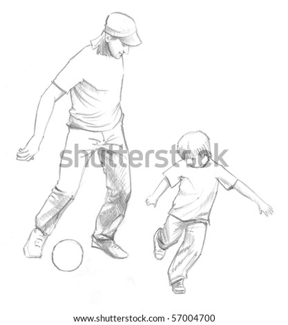 Father&son playing football